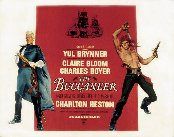 1950s Poster Art Poster featuring the photograph The Buccaneer, Charlton Heston, Yul by Everett