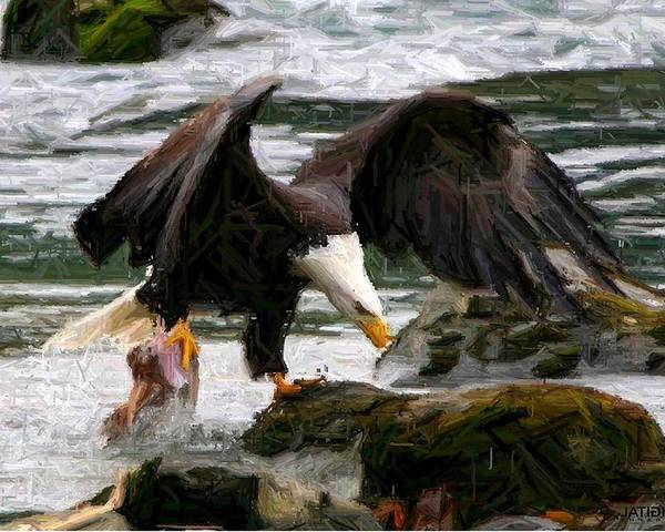 Bald Eagle Poster featuring the digital art The Catch by Carrie OBrien Sibley