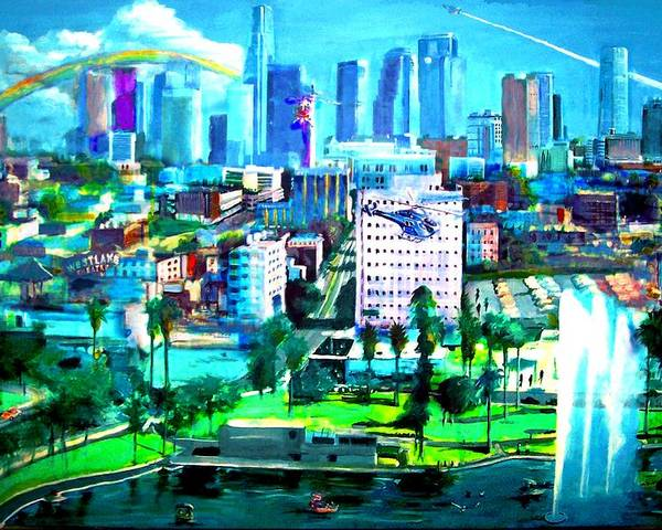 Los Angeles Poster featuring the painting The City Of Angels by Rom Galicia