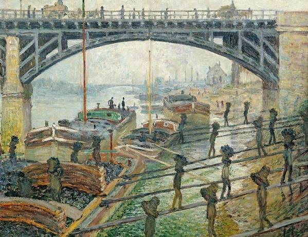 French Poster featuring the painting The Coal Workers by Claude Monet