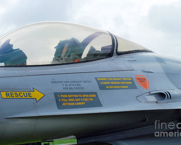 Air Component Poster featuring the photograph The Cockpit Of An F-16 Fighting Falcon by Luc De Jaeger