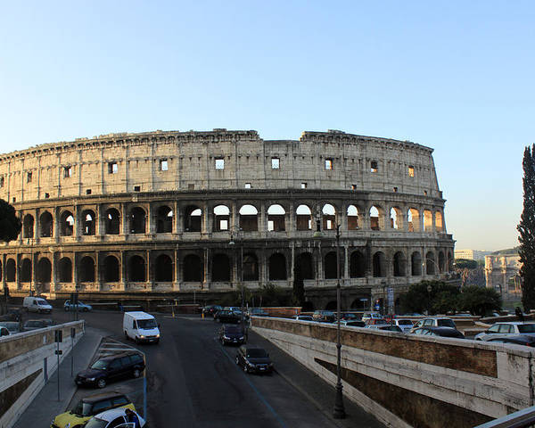 Rome Poster featuring the photograph The Colosseum in Rome by Munir Alawi