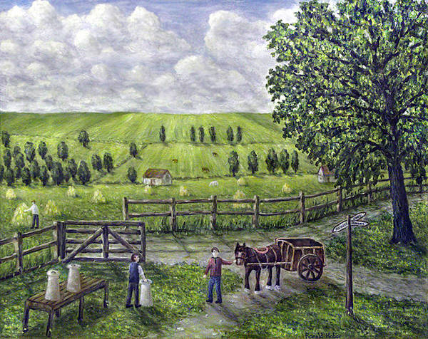 Dairy Farm Poster featuring the painting The Dairy Farm by Ronald Haber