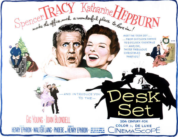 1957 Movies Poster featuring the photograph The Desk Set, Spencer Tracy, Katharine by Everett