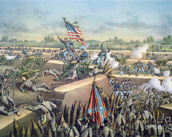 U S; Army; Federal; Confederate; Forces; Troops; Gunfire; Cannons; Battlefield; Battle Poster featuring the painting The Fall Of Petersburg To The Union Army 2nd April 1965 by American School