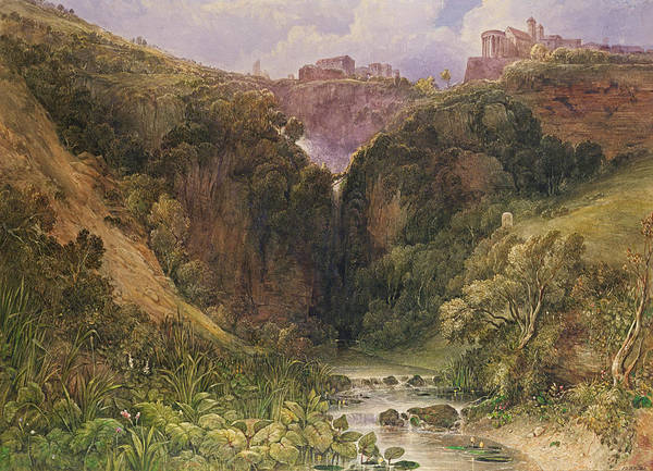 The Falls Of Tivoli Poster featuring the painting The Falls Of Tivoli by William Wyld