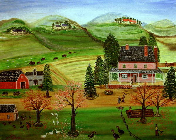 Folk Art Poster featuring the painting The Farm by Kenneth LePoidevin