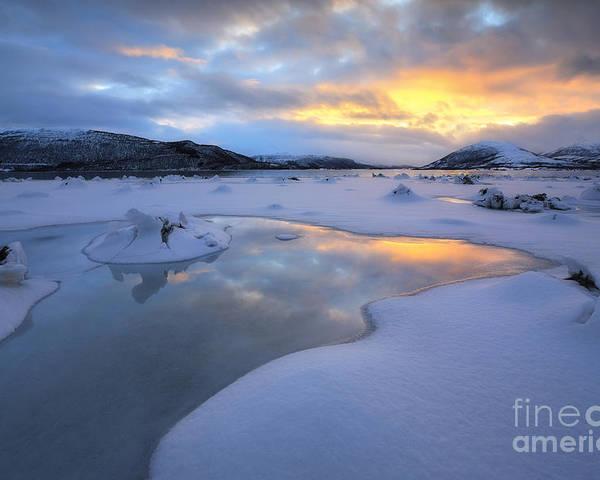 Evenskjer Poster featuring the photograph The Fjord Of Tjeldsundet In Troms by Arild Heitmann