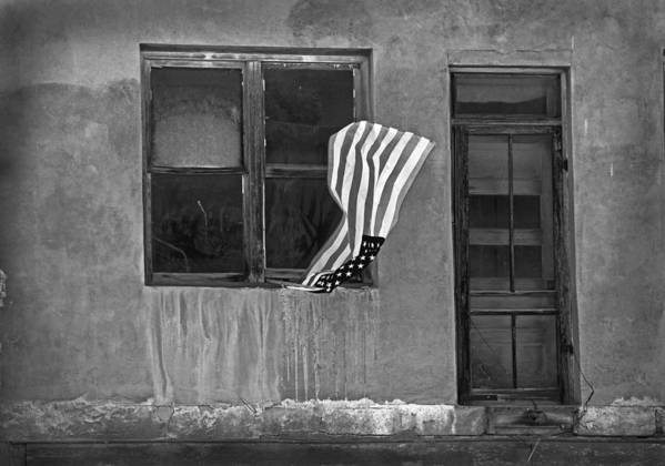 Mixed Media. Mixed Media Black And White Photography. Mixed Media Usa Flags. Fine Art America Flags. Fine Art Greeting Cards. Fine Art Flag Greeting Cards. Old Buildings. Old Doors. Old Windows. Antique Doors. Antique Windows. Mixed Media Digthal Photography. Screen Doors. Flag Photography. Window Photography. Black And White Greeting Cards. Old Black And White Buildings. Poster featuring the photograph The Flag A Window And A Door by James Steele