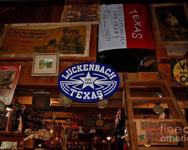 Luckenbach Poster featuring the photograph The General Store In Luckenbach Tx by Susanne Van Hulst