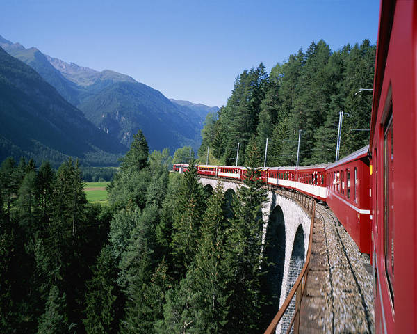 Windows Poster featuring the photograph The Glacier Express Crosses A Bridge by Taylor S. Kennedy
