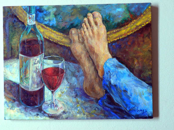 Wine Bottle Painting Poster featuring the painting The Good Life by Jean Groberg