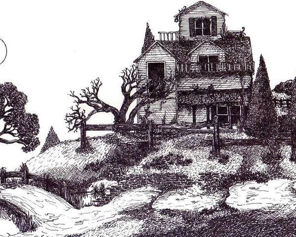 Surrealism Poster featuring the drawing The Haunted House by Joella Reeder