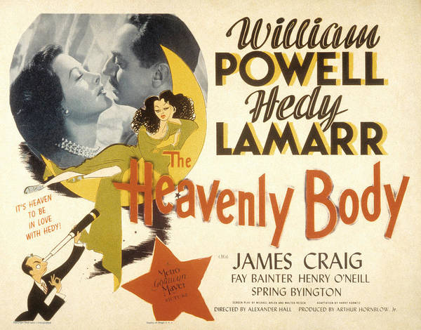 1940s Movies Poster featuring the photograph The Heavenly Body, Hedy Lamarr, William by Everett