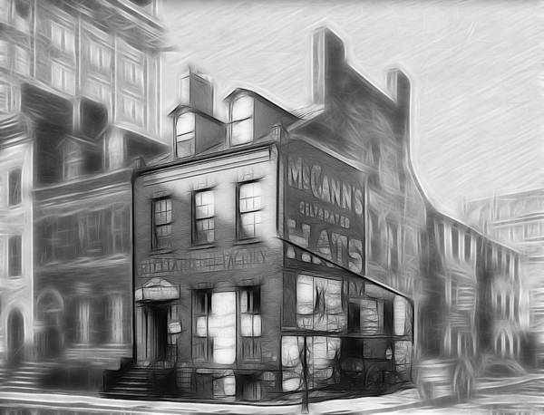 New York Old House 19 Century Hats Factory Black White Pencil Drawing Expressionism Art Painting Street Corner Vintage City Scape Poster featuring the drawing The House At The Corner by Steve K