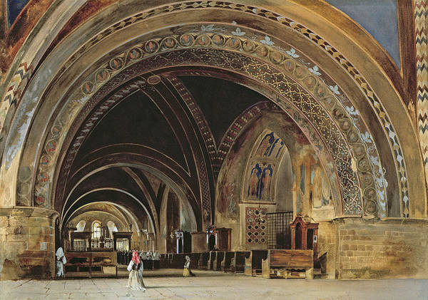 The Poster featuring the painting The Interior Of The Lower Basilica Of St. Francis Of Assisi by Thomas Hartley Cromek