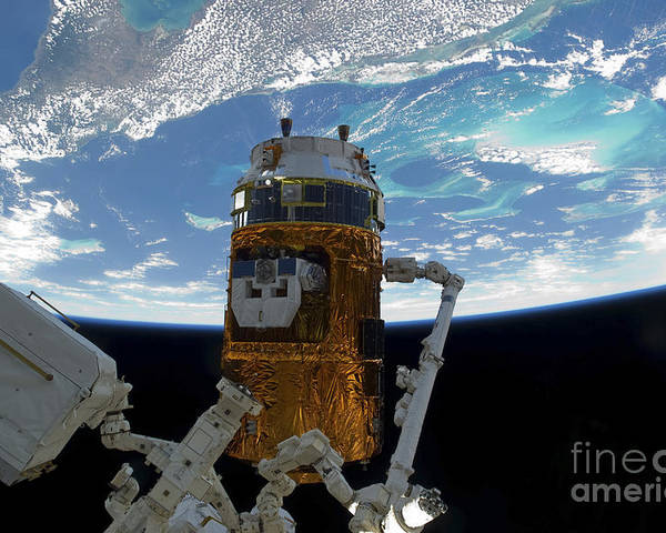 View From Space Poster featuring the photograph The Japanese H-ii Transfer Vehicle by Stocktrek Images