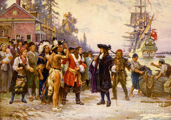 History Poster featuring the photograph The Landing Of William Penn, 1682 by Photo Researchers
