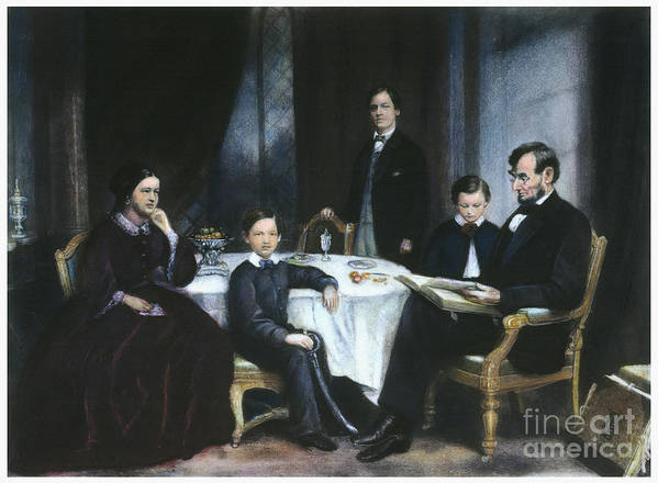 1861 Poster featuring the photograph The Lincoln Family by Granger