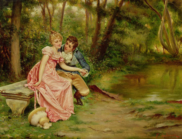 The Lovers Poster featuring the painting The Lovers by Joseph Frederick Charles Soulacroix