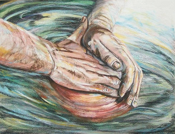 Representational Poster featuring the pastel The Master Potter by Connie Sherman