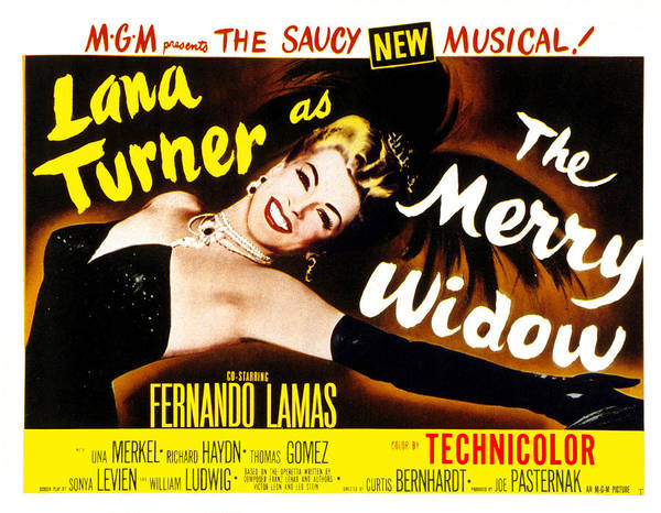 1950s Poster Art Poster featuring the photograph The Merry Widow, Lana Turner, 1952 by Everett