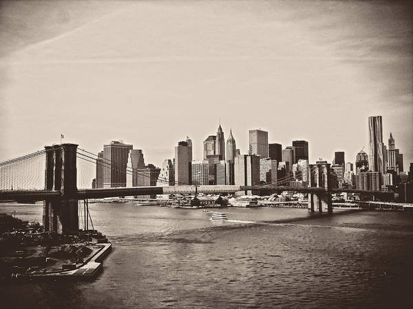 Brooklyn Bridge Poster featuring the photograph The New York City Skyline And The Brooklyn Bridge by Vivienne Gucwa