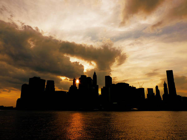 Skyline Poster featuring the photograph The New York City Skyline At Sunset by Vivienne Gucwa