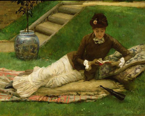 Woman;reclining;victorian;female Poster featuring the painting The Novel by Frank Dicey