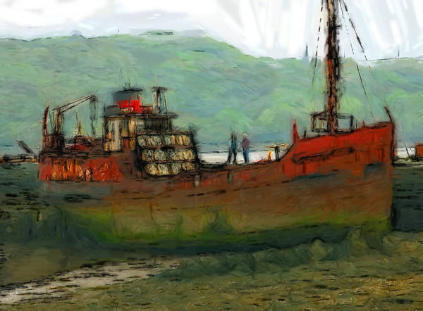Trawler Fishing Fish Fisher Rusty Rust Tide Low Water Harbour Harbor Irish Sea North Sea Poster featuring the pastel The Old Fishing Trawler by Steve K