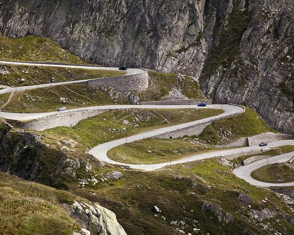 Horizontal Poster featuring the photograph The Old Road To Gotthard Pass by Buena Vista Images