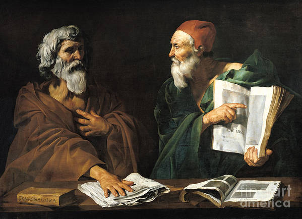 Philosophy Poster featuring the painting The Philosophers by Master of the Judgment of Solomon