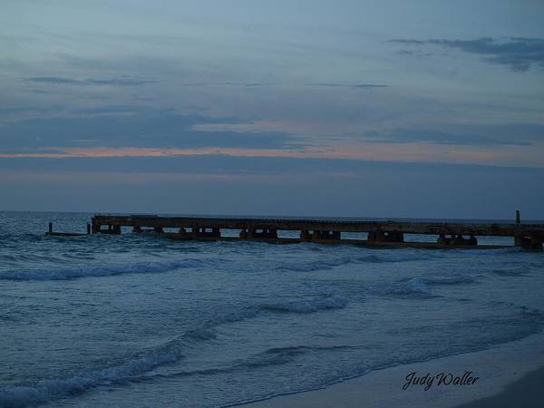 Sunset Poster featuring the photograph The Pier Blues by Judy Waller