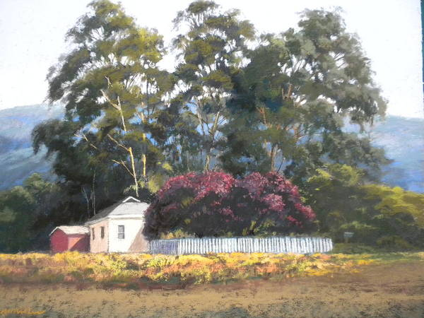 Landscape Poster featuring the painting The Plum Trees by Maralyn Miller