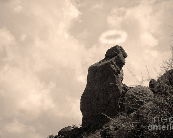 'praying Monk' Poster featuring the photograph The Praying Monk With Halo - Camelback Mountain by James BO Insogna