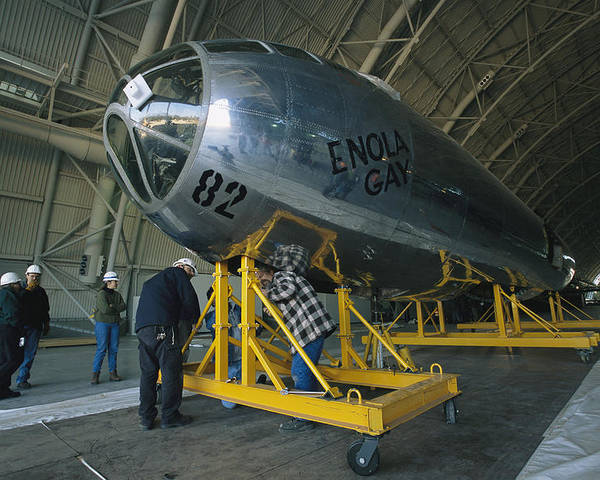 Enola Gay Poster featuring the photograph The Reassembled Enola Gay At Its New by O. Louis Mazzatenta