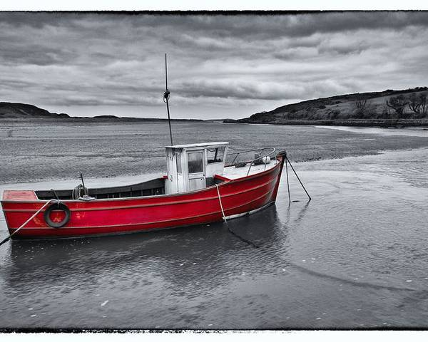 Beach Poster featuring the photograph The Red Boat by Celine Pollard