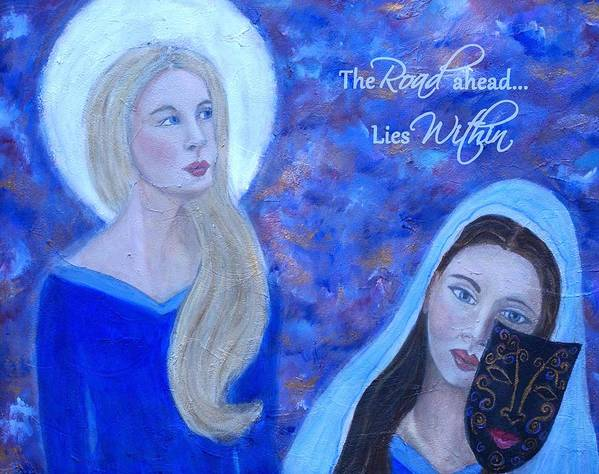 Art Poster featuring the mixed media The Road Ahead Lies Within by The Art With A Heart By Charlotte Phillips
