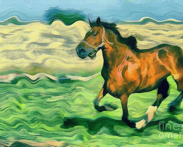 Odon Poster featuring the painting The Running Horse by Odon Czintos