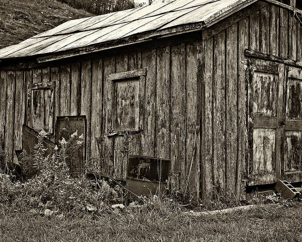 West Virginia Poster featuring the photograph The Shed Sepia by Steve Harrington
