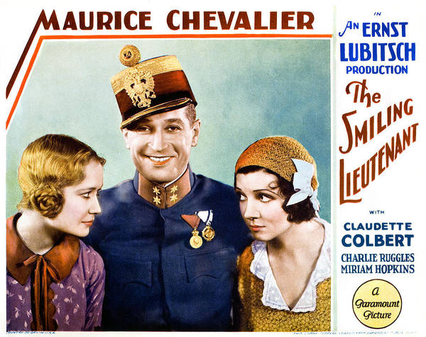 1930s Movies Poster featuring the photograph The Smiling Lieutenant, From Left by Everett