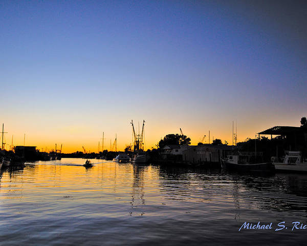 Blue Poster featuring the photograph The Sponge Docks After Sunset by Michael Richter