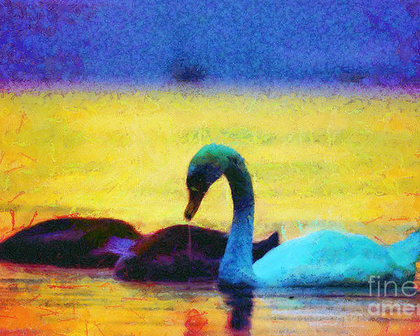Odon Poster featuring the painting The Swan Family by Odon Czintos