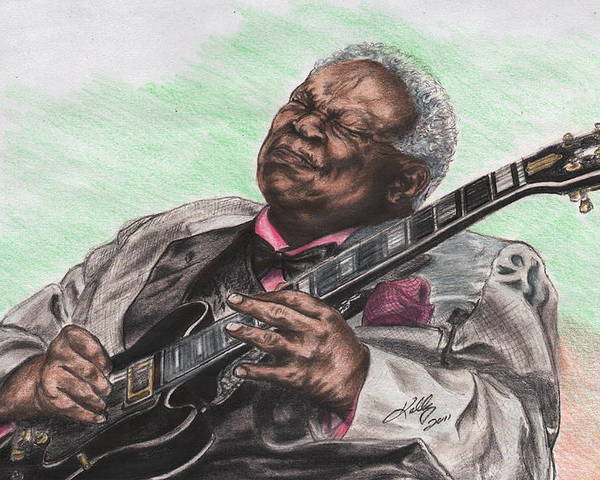 B.b. King Poster featuring the drawing The Thrill Is Gone by Kathleen Kelly Thompson