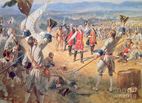Battlefield; Seven Years War; Soldier; Soldiers; Triumph; Triumphant; Victorious; Flag; Banner; Defeated Poster featuring the painting The Victory Of Montcalms Troops At Carillon by Henry Alexander Ogden