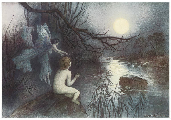 Warwick Goble Poster featuring the painting The Water Babies by Warwick Goble