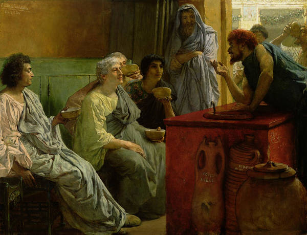 The Poster featuring the painting The Wine Shop by Sir Lawrence Alma-Tadema