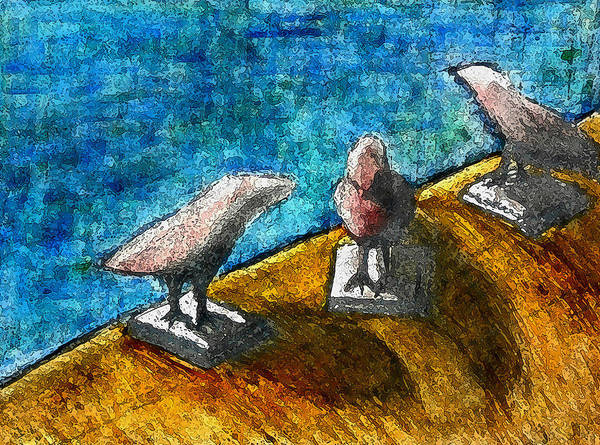 Birds By The Water Poster featuring the mixed media Three Birds Blue by James Raynor