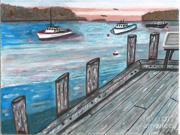 Harbor Poster featuring the painting Three Boats In The Harbor by Sea Sons Home and Life