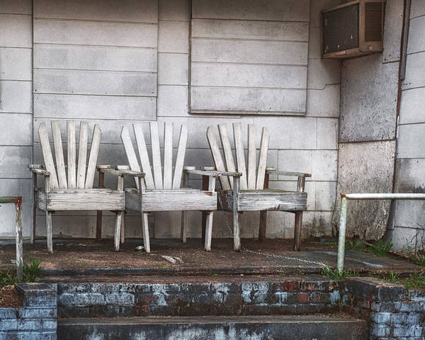 Chairs Poster featuring the photograph Three Chairs Beyond Front Street by Brenda Bryant
